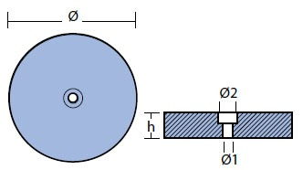 00102VET-1 Disc Anode Technical Drawing
