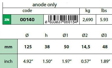 00140: 2.7kg Disc Transom/Stern Anode Technical Specifications