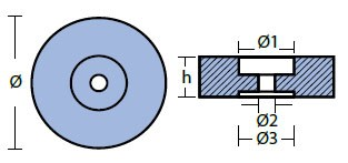 00140: 2.7kg Disc Transom/Stern Anode Technical Drawing