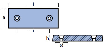 00213 Plate And Bar Hull Anode Technical Drawing