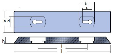 00274E Plate And Bar Hull Anode Technical Drawing