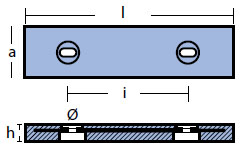 00264: 8.0kg Bolt On Plate Nautic Hull Anode Technical Drawing