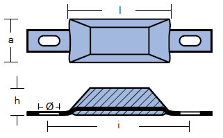 00386: 0.5kg Bolt On Scandinavian Ingot Technical Drawing