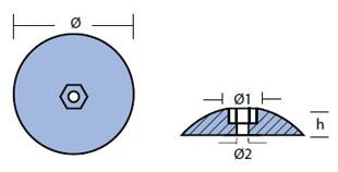 R2: 72mm Disc Rudder Anode (pair) Technical Drawing